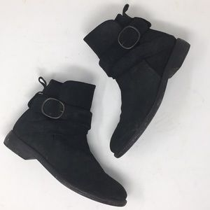 P. Monjo Slouchy Ankle Boots Suede Leather Black 8